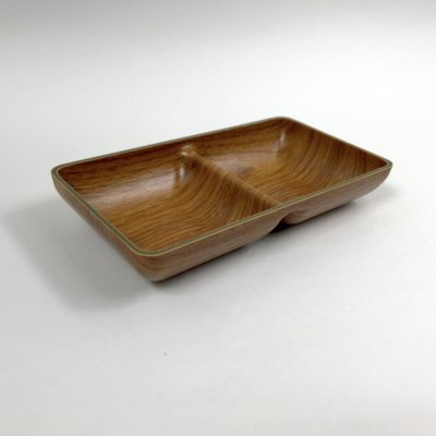 Recycled plastic wood effect double snack tray dish